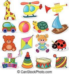 ensemble, jouets, bébé