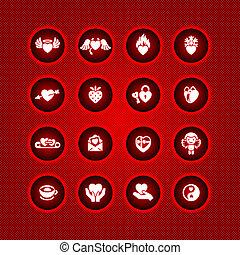 ensemble, jour valentine, icônes