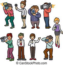 ensemble, journaliste, gens