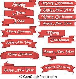 ensemble, joyeux, année, nouveau, rubans, noël, rouges, heureux