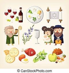 ensemble, juif, pesach, -, apparenté, traditionnel, pâque, holiday., images, ou