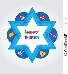 ensemble, juif, purim, éléments, conception, vacances
