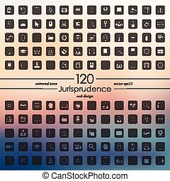 ensemble, jurisprudence, icônes