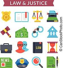 ensemble, &, justice, icônes, vecteur, droit & loi