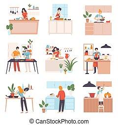 ensemble, kitchen., images, gens, vecteur, illustration.