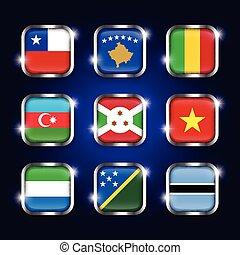 ensemble, kosovo, azerbaïdjan, burundi, frontière, botswana, scintillement, ), (, boutons, sierra, verre, chili, mondiale, acier, quadrangulaire, solomon, vietnam, drapeaux, mali, îles, leone