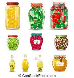 ensemble, légumes, champignons, miel, verre, fruit, conception, conservé, pots, ton