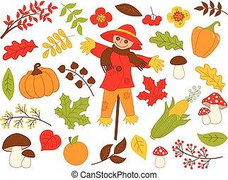 ensemble, légumes, feuilles, automne, vecteur, épouvantail