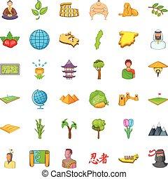 ensemble, la terre, style, dessin animé, icônes