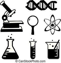 ensemble, laboratoire science, vecteur, remplir, dessin animé, icône