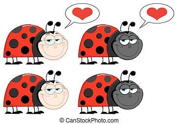 ensemble, ladybird., collection, heureux