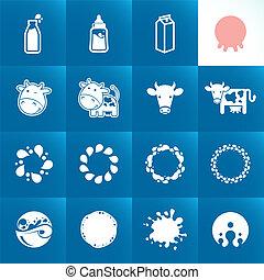 ensemble, lait, icônes