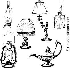 ensemble, lampes