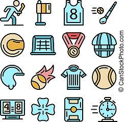 ensemble, lancer, icônes, plat, vecteur