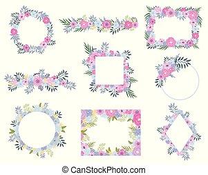 ensemble, leaves., illustration, arrière-plan., vecteur, cadres, fleurs blanches
