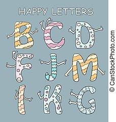 ensemble, lettres, dessin animé, sombre, clair, vecteur, fond, mains, ton, design.