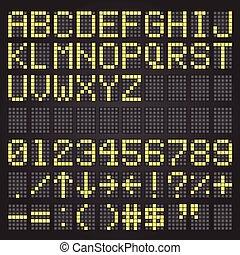 ensemble, lettres, jaune, symboles, aéroport, horaire, mécanique