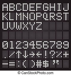 ensemble, lettres, symboles, aéroport, horaire, mécanique, blanc