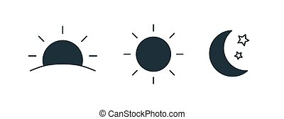 ensemble, levée, croissant, isolé, lune, arrière-plan., monture, noir, blanc, éléments, nuit, paquet, collection, soleil, jour, illustration., pictograms., stars., silhouettes, vecteur, temps, conception, ou