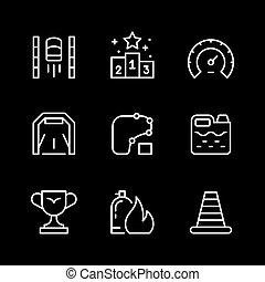 ensemble, ligne, icônes, courses
