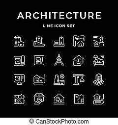 ensemble, ligne, icônes, de, architecture