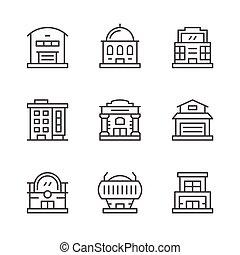 ensemble, ligne, icônes, de, bâtiments
