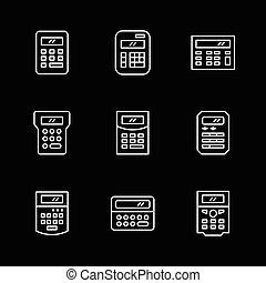 ensemble, ligne, icônes, de, calculatrice