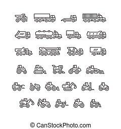 ensemble, ligne, icônes, de, camions, et, tracteurs