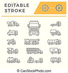 ensemble, ligne, icônes, de, camions