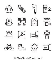 ensemble, ligne, icônes, de, camping