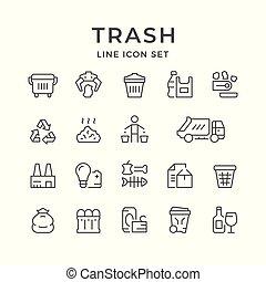 ensemble, ligne, icônes, de, déchets ménagers