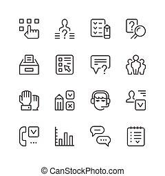 ensemble, ligne, icônes, de, enquête