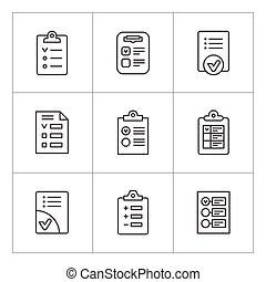 ensemble, ligne, icônes, de, liste contrôle