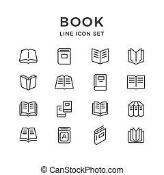 ensemble, ligne, icônes, de, livre