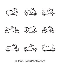 ensemble, ligne, icônes, de, motocyclettes