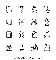ensemble, ligne, icônes, de, salle bains