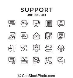 ensemble, ligne, icônes, de, soutien