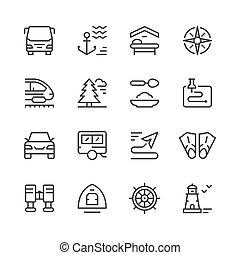 ensemble, ligne, icônes, de, voyage