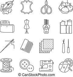 ensemble, lignes, mince, couture, icônes