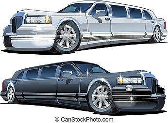 ensemble, limousines, isolé, vecteur, blanc, dessin animé