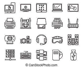 ensemble, linéaire, icônes, fondamental, électronique, devices., analogue