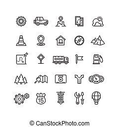 ensemble, linéaire, icônes, voyage, vecteur, emplacement, trafic, autoroute