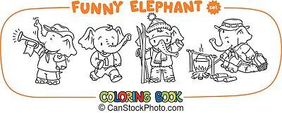 ensemble, livre, bébé, coloration, quatre, éléphant, rigolote
