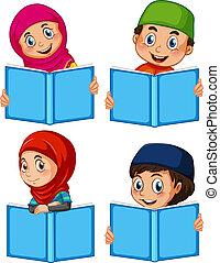 ensemble, livre, musulman