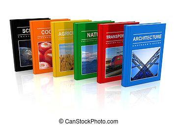 ensemble, livres, scientifique