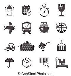 ensemble, logistique, icônes