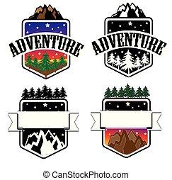 ensemble, logo, nature, aventure, extérieur, insigne 2
