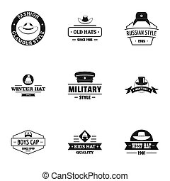 ensemble, logo, style, chapeau, simple