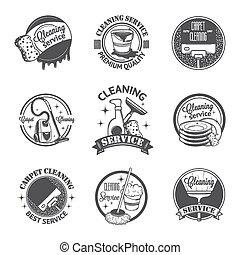 ensemble, logos, vendange, étiquettes, nettoyage, services, insignes