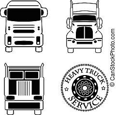 ensemble lourd, service, icônes, automobile, illustration, vecteur, camion